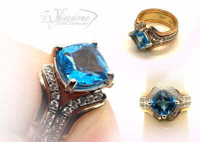 Custom 14K Two Tone Gold Diamond and Blue Topaz Ring