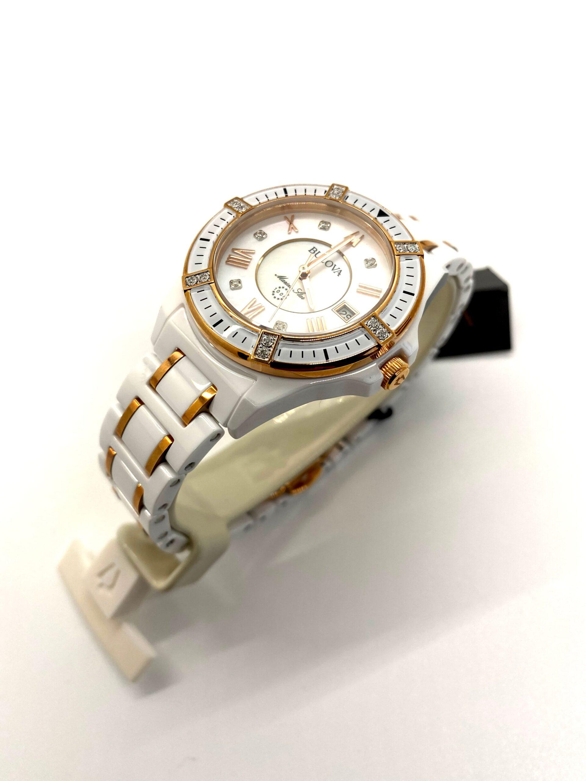Bulova Ladies Rose Gold Diamond Face Bezel Watch