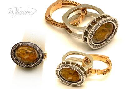 Custom Boulder Opal and Diamond Ring