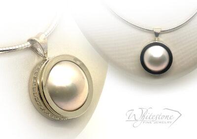 Custom Pearl Pendant with Diamonds