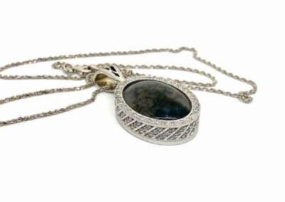 Moss Agate Custom Diamond Pendant